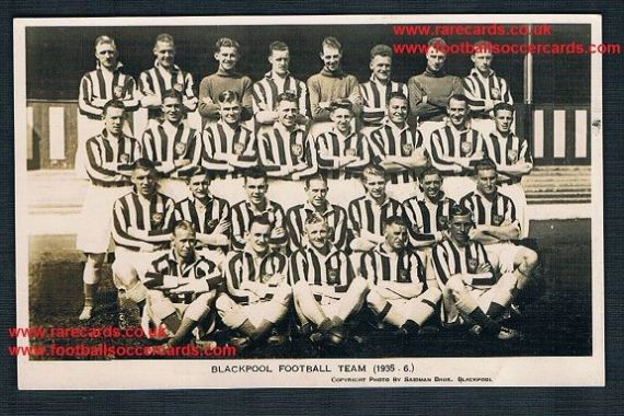 1935 Blackpool FC postcard by Brown & Mallalieu Ltd, light faults